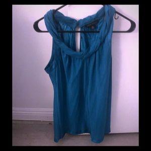 Hunter green/ turquoise silk shirt